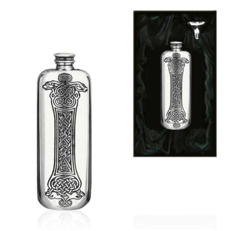 3oz Celtic Oblong Piper Pewter Hip Flask