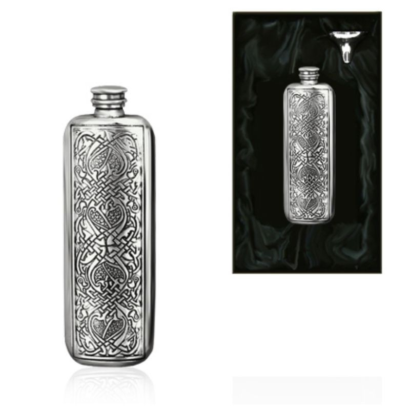 3oz Celtic Oblong Piper Pewter Hip Flask