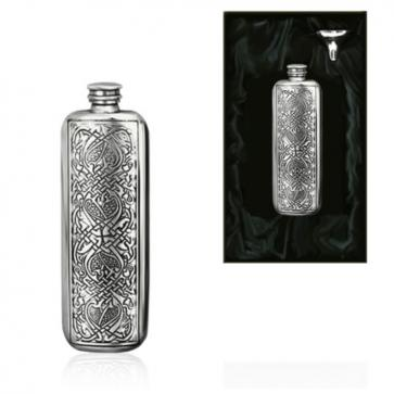 3oz Celtic Oblong Piper Pewter Hip Flask Perfume Sample