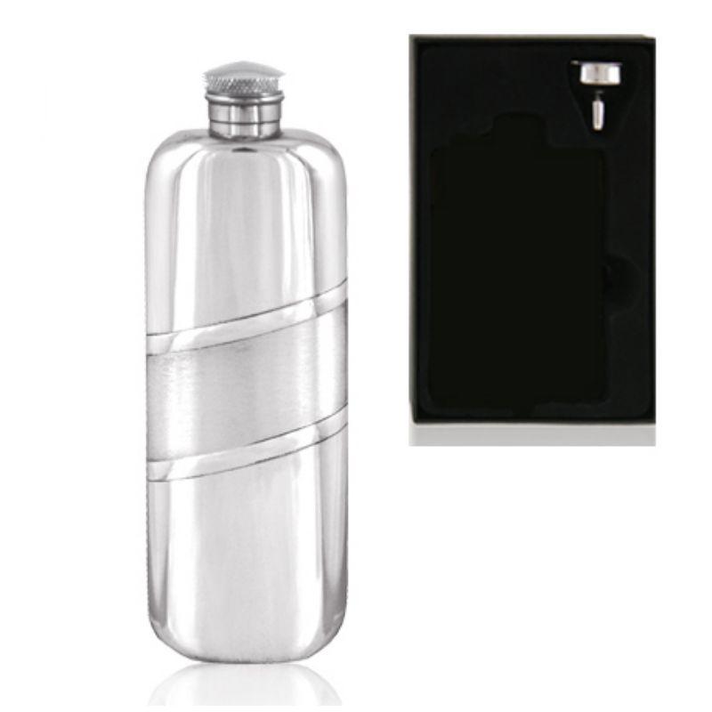 3oz Oblong Piper Pewter Hip Flask