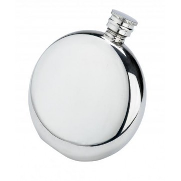 4oz Round English Pewter Hip Flask Perfume Sample