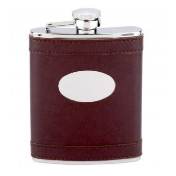 6oz Brown Leather Stainless Steel Hip Flask Perfume Sample