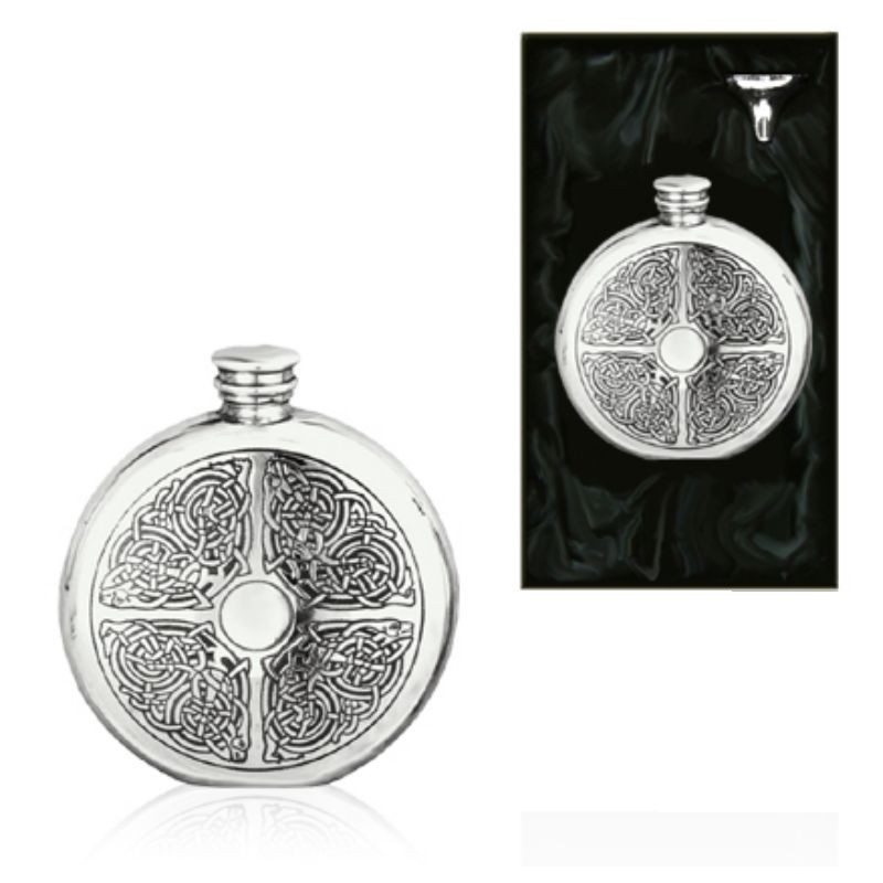6oz Celtic Round Piper Pewter Hip Flask