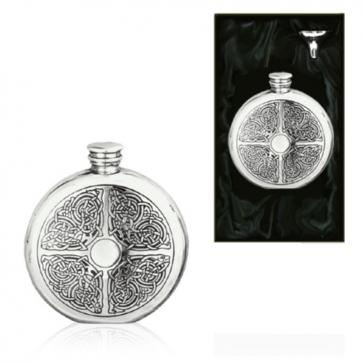 6oz Celtic Round Piper Pewter Hip Flask Perfume Sample