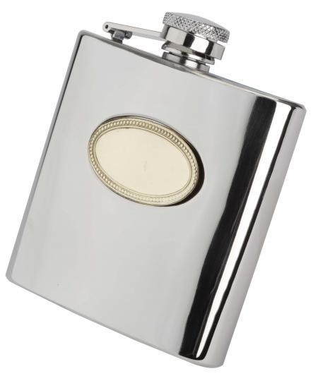6oz English Pewter Hip Flask with Gold Badge