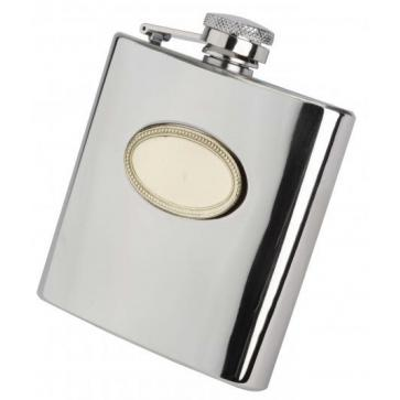 6oz English Pewter Hip Flask with Gold Badge Perfume Sample
