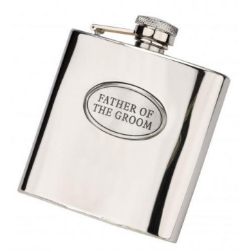 6oz 'Father of the Groom' Stainless Steel Hip Flask Perfume Sample