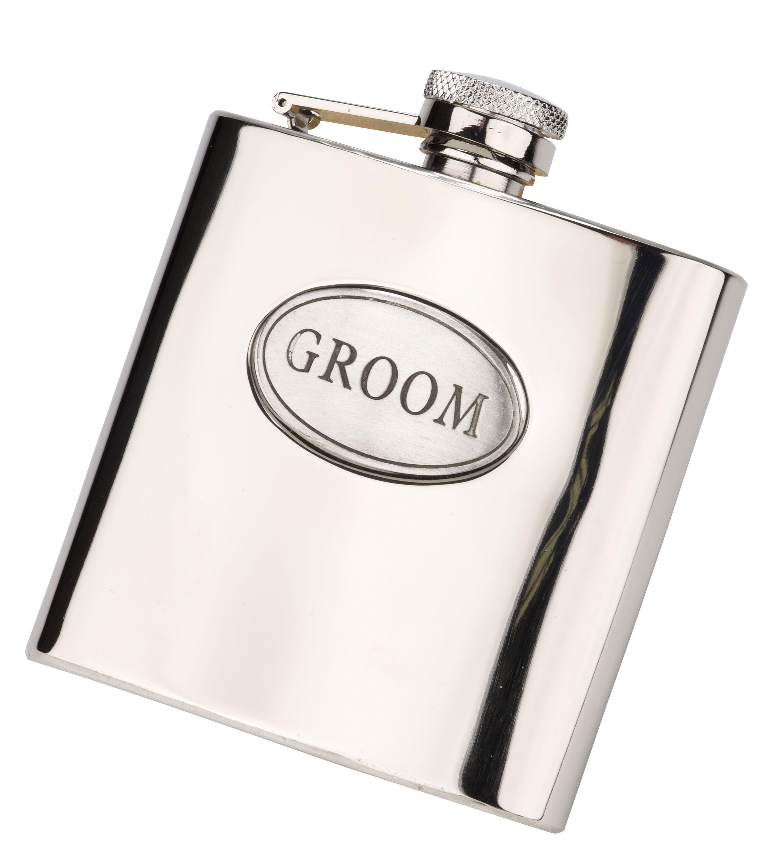 6oz Groom Hip Flask With Captive Lid Engraved Free