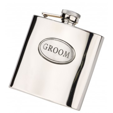 6oz Groom Hip Flask With Captive Lid Engraved Free Perfume Sample