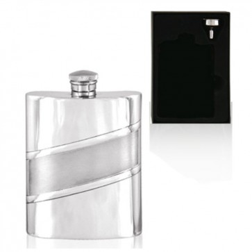 6oz Satin Band English Pewter Hip Flask Perfume Sample