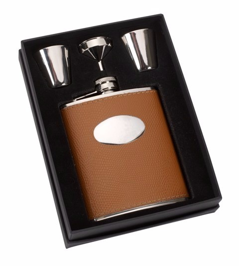 6oz Tan Leather Stainless Steel Hip Flask