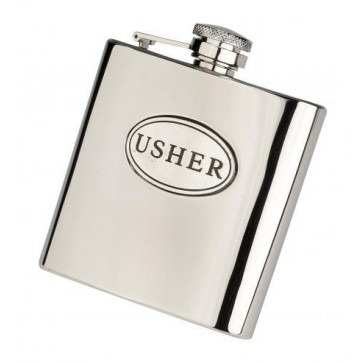 6oz 'Usher' Stainless Steel Hip Flask Perfume Sample