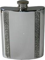 6oz Vertical Piper Pewter Celtic Bands Hip Flask