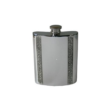6oz Vertical Piper Pewter Celtic Bands Hip Flask Perfume Sample