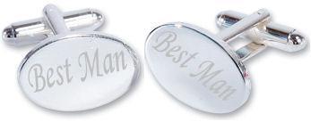 Best Man Wedding Silver Plated Oval Cufflinks High Quality