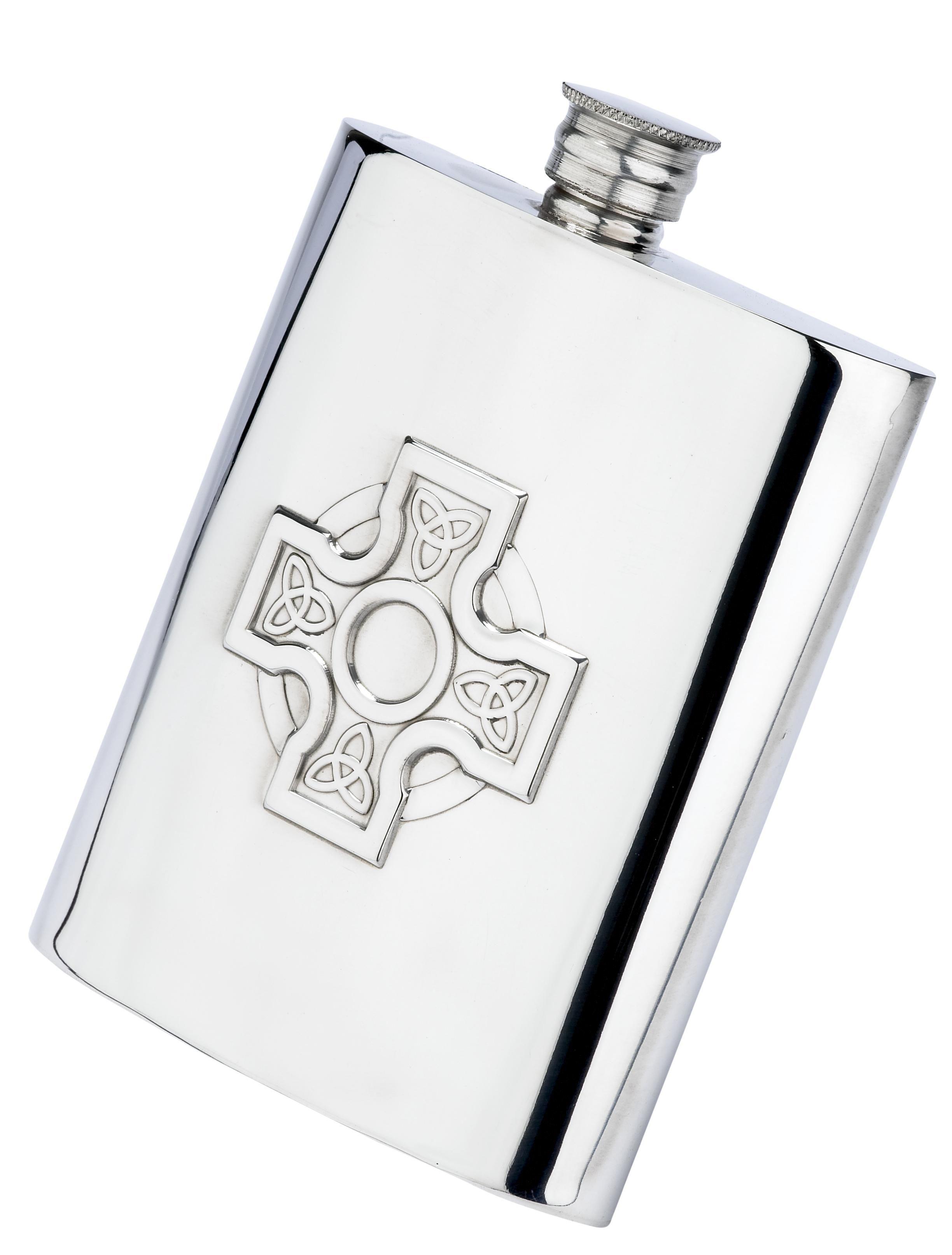 Celtic Cross 6oz Piper Pewter Hip Flask
