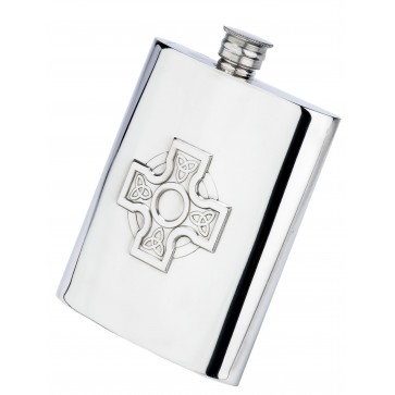 Celtic Cross 6oz Piper Pewter Hip Flask Perfume Sample
