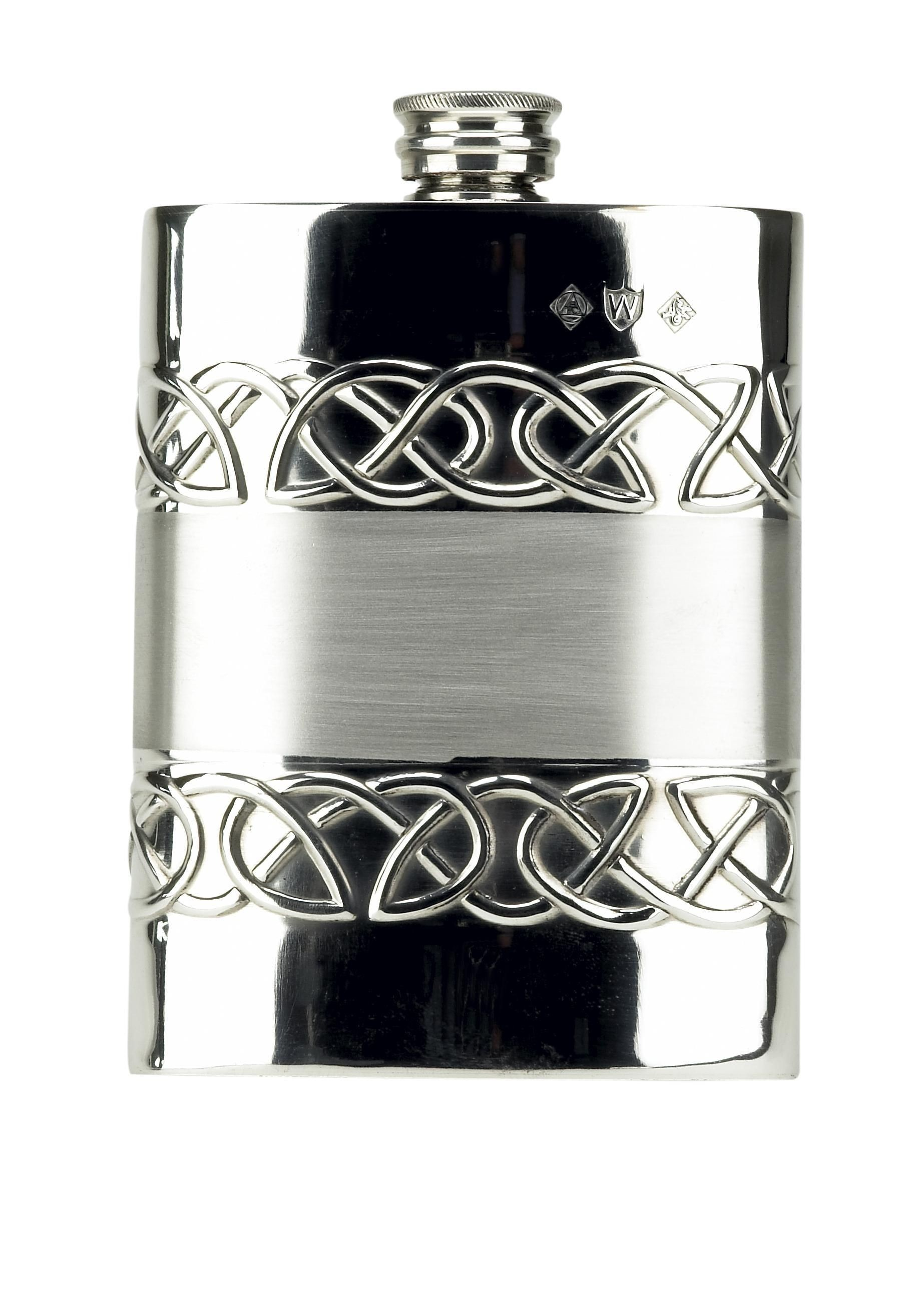 Celtic Love Band 6oz Piper Pewter Hip Flask