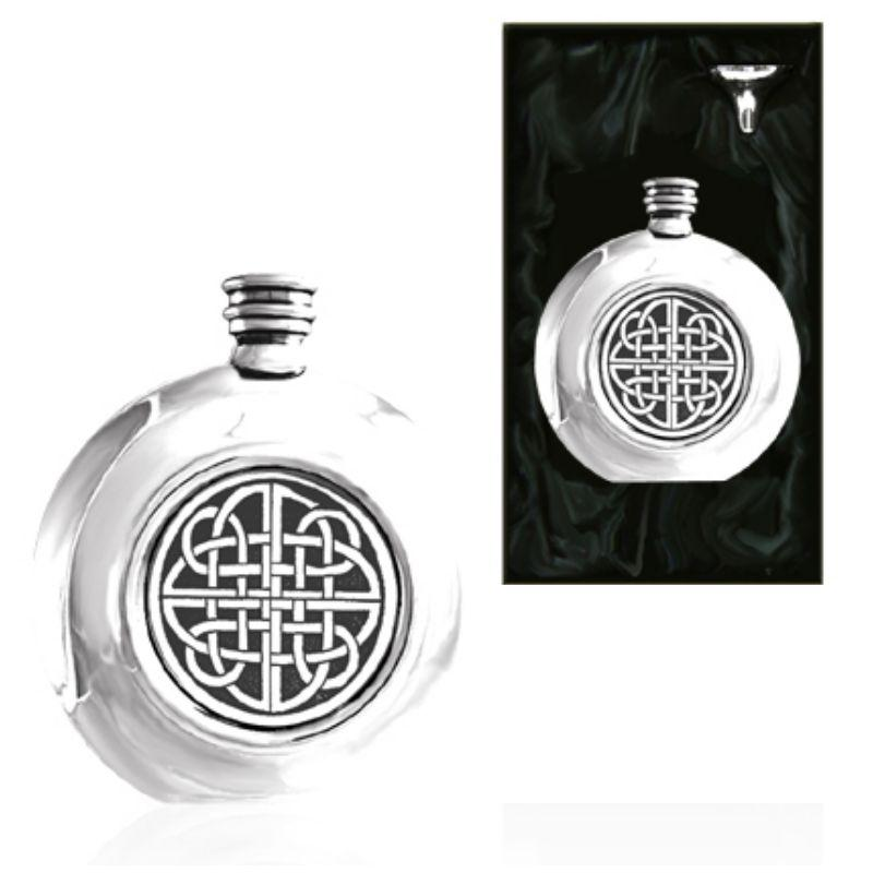 Celtic Round Piper Pewter Hip Flask