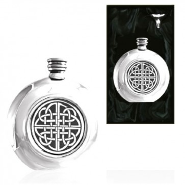 Celtic Round Piper Pewter Hip Flask Perfume Sample