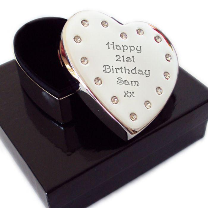 Diamante Silver Plated Trinket Box