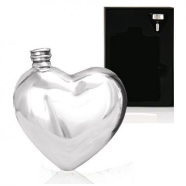 Engraved 6oz Heart English Pewter Hip Flask Perfume Sample