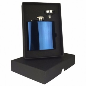 Engraved Hip Flask Captive Lid 6oz Blue stainless steel Perfume Sample