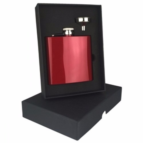 Engraved Hip Flask Captive Lid 6oz Red stainless steel