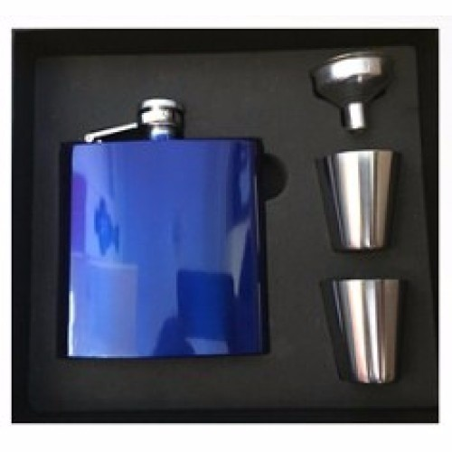 Engraved Hip Flask Drinking Set 6oz Blue stainless steel