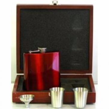 Engraved Hip Flask Set Captive Lid 6oz Red stainless steel Perfume Sample