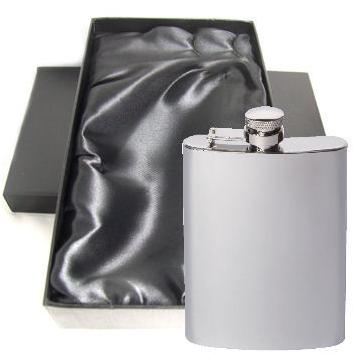 Engraved Stainless Steel Hip Flask Captive Lid 6oz Personalised Free Gift Boxed Perfume Sample