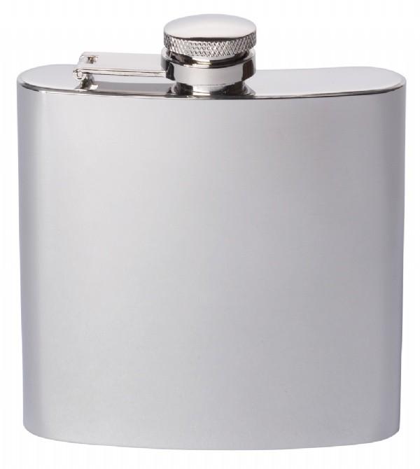 Engraved Stainless Steel Hip Flask Captive Lid 6oz Polished