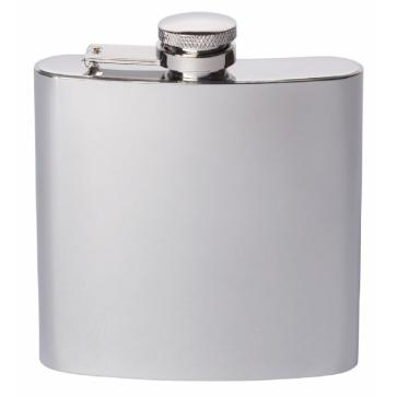 Engraved Stainless Steel Hip Flask Captive Lid 6oz Polished Perfume Sample