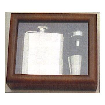 Engraved Stainless Steel Hip Flask Captive Lid 6oz Wooden Gift Box & Cups Perfume Sample