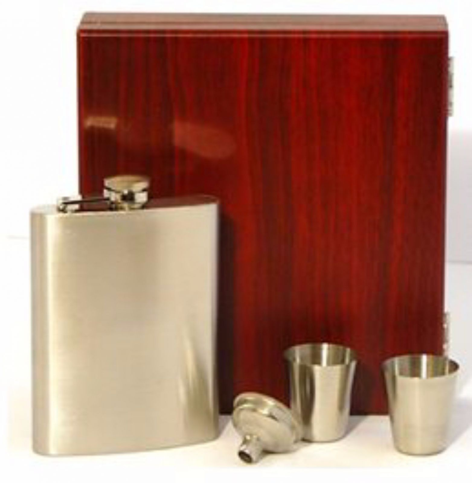 Engraved Stainless Steel Hip Flask Captive Lid 8oz Wooden Gift Box & Cups High Finish