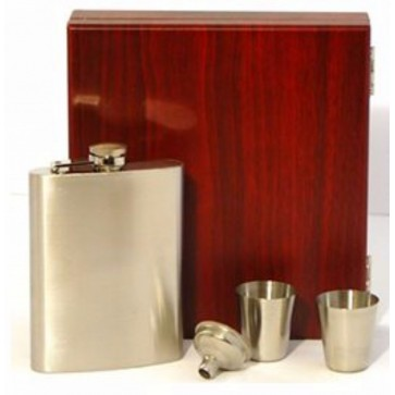 Engraved Stainless Steel Hip Flask Captive Lid 8oz Wooden Gift Box & Cups High Finish Perfume Sample