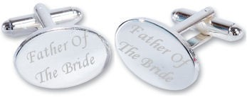 Father Of The Bride Wedding Silver Plated Oval Cufflinks High Quality