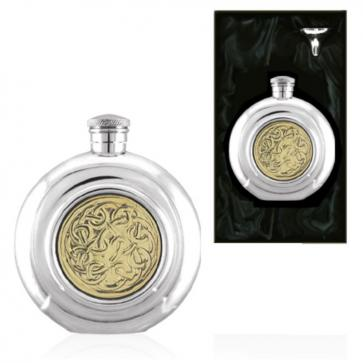 Golden Kells Round Piper Pewter Hip Flask Perfume Sample