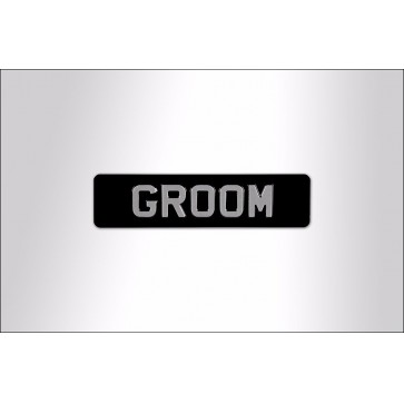 Groom Embossed Sign -  Aluminium Perfume Sample