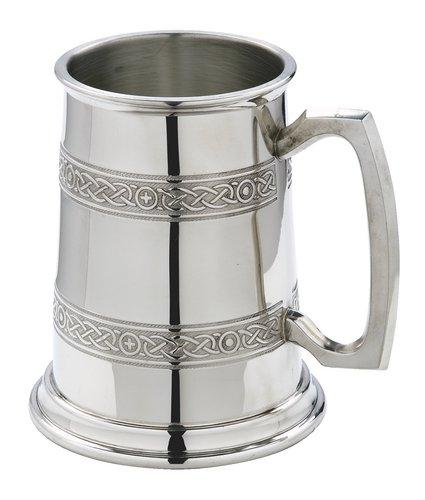 Hand crafted Piper Pewter Celtic Bands 1 pintTankard in Gift Box