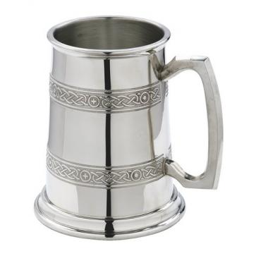 Hand crafted Piper Pewter Celtic Bands 1 pintTankard in Gift Box Perfume Sample