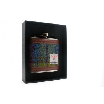 Harris Tweed Stainless Steel Hipflask  green/blue6oz - Perfume Sample