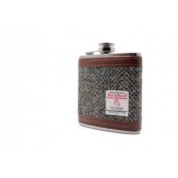 Harris Tweed Stainless Steel Hipflask  grey Perfume Sample