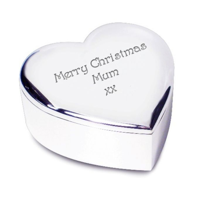 Heart Shaped Trinket Box -  Silver Plated