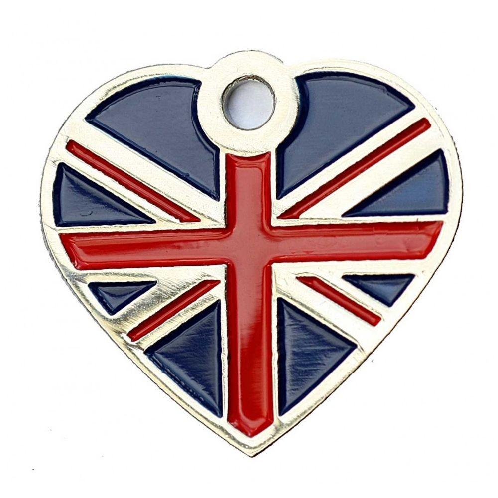 Heart Union Jack Pet Tag