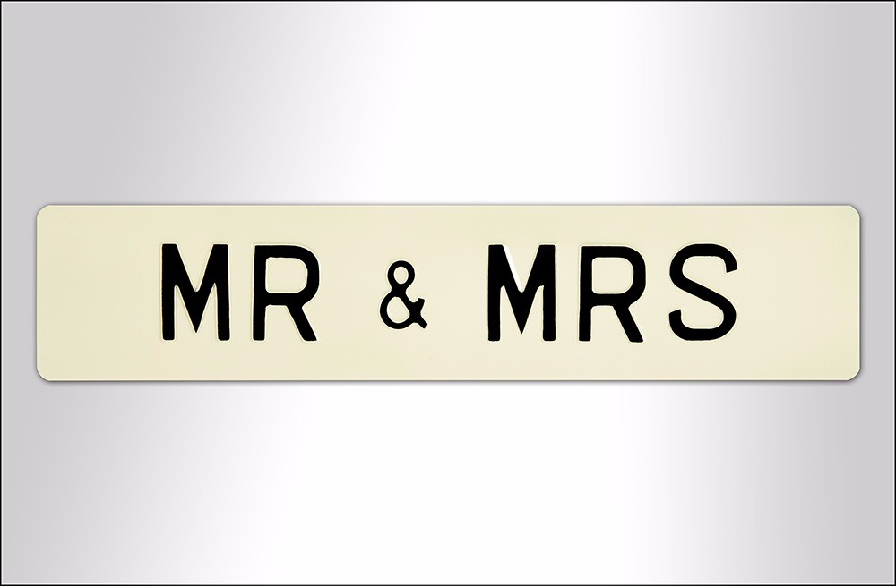 Loving Couple Embossed Sign - Aluminium