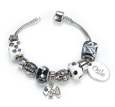 OGLE Style Bracelet Ebony Personalised Free - Silver Plated