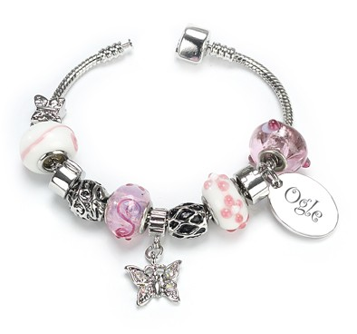 OGLE Style Silver Plated Bracelet Sweet Pink Personalised Free