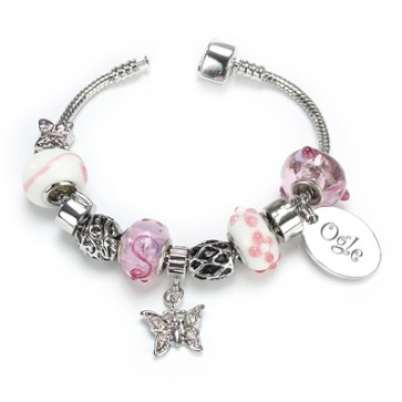OGLE Style Silver Plated Bracelet Sweet Pink Personalised Free Perfume Sample