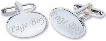 Page Boy Wedding Silver Plated Oval Cufflinks High Quality